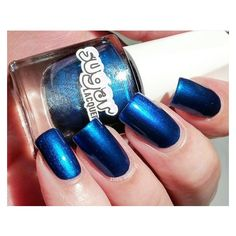 Starlight Sapphire Blue Indie Nail Polish Nail Lacquer ❤ liked on Polyvore featuring beauty products, nail care, nail polish and shiny nail polish