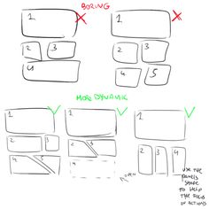 Anonymous said: how do i learn how to storyboard comics Answer: set the panels the first version is the easier but also boring for the eye, the sequence rectangular-square-square and repetitive,. tips indefinite hiatus Drawing Techniques, Drawing Tips, Drawing Tutorials, Art Tutorials, Drawing Ideas, Comic Drawing, Manga Drawing, Comic Book Layout, Wie Zeichnet Man Manga