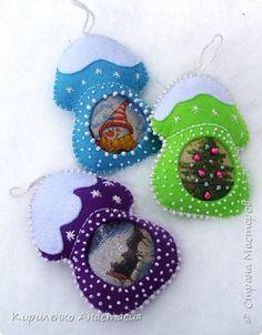 Декор предметов Новый год Шитьё Новогодние игрушки- сувенирчики  Бисер Бусины Клей Салфетки Фетр фото 1