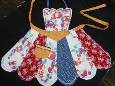 Vintage upcycled tablecloth apron