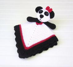 Crochet White, Black and Red Panda Bear Lovey Security Blanket Crochet Security Blanket, Crochet Lovey, Baby Blanket Crochet, Crochet Toys, Hand Crochet, Crocheted Blankets, Baby Blankets, Snuggle Blanket, Lovey Blanket