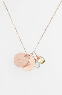 Nashelle Aqua Chalcedony, Lemon Quartz, Initial & Heart 14k-Gold Fill Disc Necklace | Nordstrom