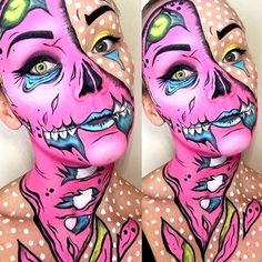 Pop art zombie makeup Ideas for 2019 Halloween Zombie, Fairy Halloween Costumes, Halloween Inspo, Halloween Kostüm, Halloween Face Makeup, Pop Art Kostüm, Pop Art Zombie, Zombie Face Paint, Artistic Make Up