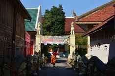 Buddhist Wall Art Metal Prints — Wat & monk in Chiang Mai Thailand — metal wall art, metal photo prints, photos on metal, metal pictures