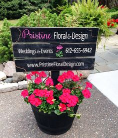 Floral shop logo and info sign - Custom Painted Wood Signs - SignsByAndrea #customsign #woodsign #signdisplay