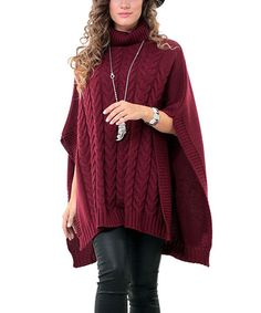 Look at this #zulilyfind! Burgundy Turtleneck Poncho - Plus #zulilyfinds