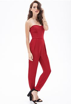 Forever 21 is the authority on fashion & the go-to retailer for the latest trends, styles & the hottest deals. Shop dresses, tops, tees, leggings & more! Pleated Jumpsuit, Red Jumpsuit, Homecoming Romper, Homecoming Ideas, Red Jumper, Forever 21, Bandeau, Playsuits, Jumpsuits For Women