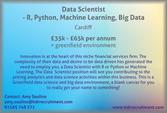 New Job: Data Scientist - R, Python, Machine Learning, Big Data needed in Cardiff. Contact Amy to find out more or apply online today!