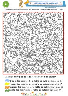 Coloriage magique multiples 5,7,8 et 9