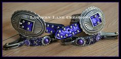 Barrel racing bumper spurs Metallic purple snakeprint spur straps