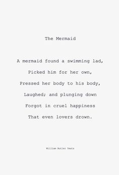 """""""The Mermaid"""" by William Butler Yeats"""