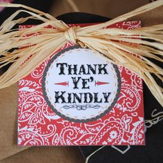 Cute Little Cowboy Thank You Favor Tags say Thank Ye' Kindly - Red bandana print and brown with orange and tan accents - Printable. $5.00, via Etsy.