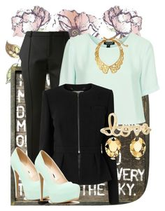 """Mint and black,love!!"" by liell ❤ liked on Polyvore"