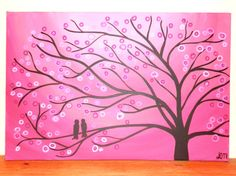 Pink Tree Painting  Pink Two Love Birds in a Tree by louisemead, £70.00