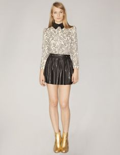 high collar peter pan full leather skirt Pretty in Paisley blouse school girl #fashion #style outfit ideas