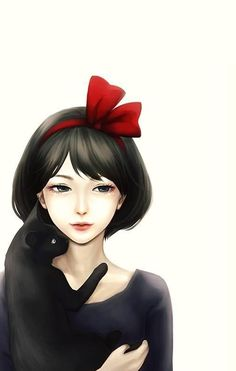 Fanart ~ joven y gato negro ~ young girl and black cat