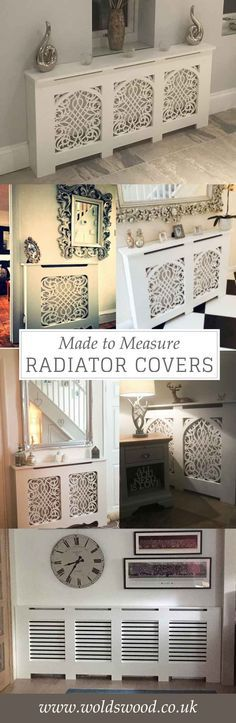 Made to measure and standard size radiator covers. Handmade in the UK. Custom made - choose your cabinet style and grille. Bespoke - made to your measurements. Can come unpainted, primed or topcoated in a satin white. Prices start at £94 for a small unpainted cover. Email for a quote info@woldswood.co.uk. French/Shabby Chic, Gothic Baroque, Classic and Shaker styles. Great ideas for the hallway, kitchen, living room, dining room or bedroom. Minimal DIY, perfect for under windows.