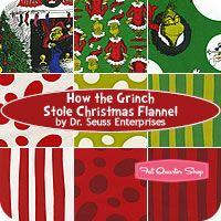 #FQSgiftguide    How the Grinch Stole Christmas Flannel Fat Quarter Bundle SKU# FQ-506-9