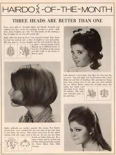 Hairdo of the month roller setting pattern.  1960's