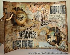 This is a masterpiece of collagey goodness! Sizzix Circle Platform & Ribbons die! Layers of ink: Collage Pop-Up Card