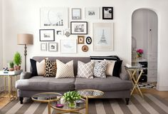We spend most of our time at home in the living room. But not all of us organize living-room stuff well. Here are some ideas for your apartment living room. Home Living Room, Apartment Living, Living Room Decor, Living Spaces, Cozy Apartment, Small Living, Modern Living, Apartment Therapy, Gallery Wall Living Room Couch