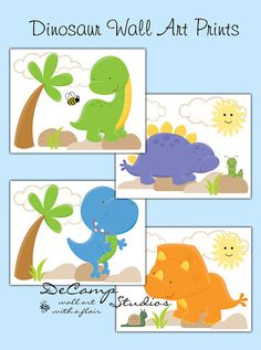 Dinosaur 8x10 Wall Art Prints for baby boy or girl nursery and children's dino room decor #decampstudios