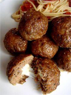 Mozzarella stuffed meatballs; I make these and LOVE them.