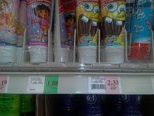 2.33 for same oz, or 1.88 for Dora, Dora or spongebob, my great boys got Dora! Crazy same product, name, and all. Beware shopping !