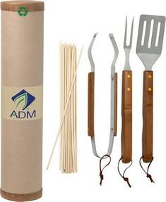 All neatly packaged in a 100% recycled cardboard cylinder with recycled paper stuffing Constructed of Stainless Steel and Bamboo Includes fork, spatula, tongs and 20 wooden skewers Package suitable for mailing Eco-friendly sets come complete with utensils made with FDA compliant materials. Complies with FDA.