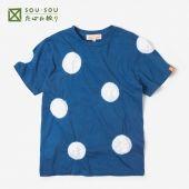 たばた絞り 半袖Tシャツ/水玉大 紺青×つくも