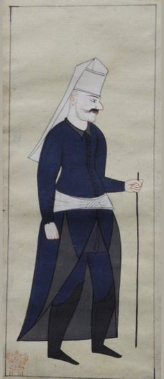 "35v An Acsi basi, head cook of the Janissaries. Carrying a staff, blue kaftan tucked into his white girdle in front. Blue trousers, high black books, plain white Janissary headdress. Unshaven stubbly beard. Peter Mundy's Album, ""A briefe relation of the Turckes, their kings, Emperors, or Grandsigneurs, their conquests, religion, customes, habbits, etc"" Istanbul 1618"