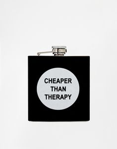 Petaca con texto Cheaper Than Therapy