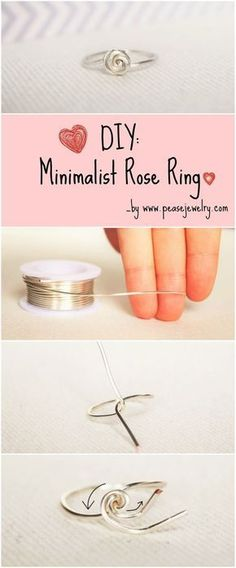 Make Your Own Minimalist Rose Ring Easily with an 1mm wire (or more), a Ring Sizer and Your hand! Perfect for Everyday Wear. DIY jewelry, ring.