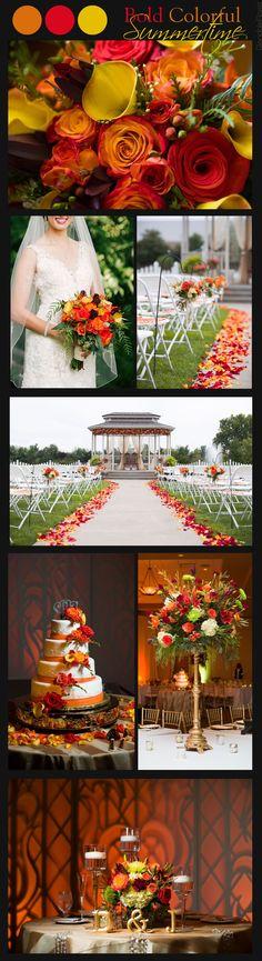Glendale Florist   Summertime Bold and Bright Color Scheme Wedding, Fall Autumn Color Scheme Wedding, Wedding Gazebo, Floating Candles, Rose Petal Wedding Aisle