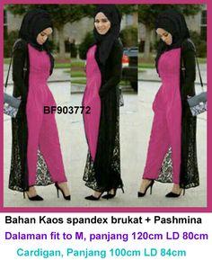 Heno Gamis 3 In 1 Set Maxi Dress Tangan Buntung Warna