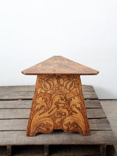 Antique Wood Table / 1900s Pyrography Table / Art by 86home