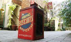 駄菓子屋さん仕様「カバヤビスケット」ブリキ缶。☆Tin can of KABAYA's biscuits for dagashiya (Japan's nostalgic small-time candy store) use.