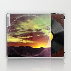 Vintage look Album Art back cover as a laptop skin. https://society6.com/product/mountain-sunset-interpreted-as-album-art_laptop-skin?#s6-6666135p8a2v51