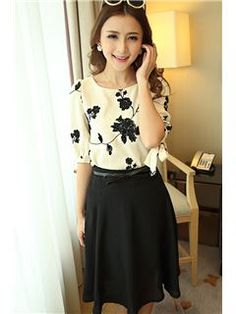 New Style Print Flax Slim Two-Piece Women Dresses with Belt