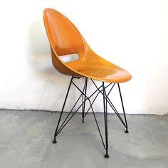 Miroslav Navrátil; Fiberglass and Painted Metal Sidechair for Vertex, 1959.