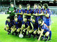 F. C. BARCELONA - Barcelona, España - Temporada 1986-87 - Zubizarreta, Gerardo, Lineker, Moratalla, Manolo y Migueli; Carrasco, Víctor, Esteban, Roberto y Marcos - F. C. BARCELONA 2 (Esteban, Roberto) REAL BETIS BALOMPIÉ 0 - 14/03/1987 - Liga de 1ª División, jornada 31 - Barcelona, Nou Camp Barcelona Football, Fc Barcelona, Carrasco, Soccer, Barcelona Spain, Football Team, Frames, Seasons, Sports