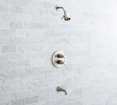 Warby Thermostatic Shower & Tub Set, Satin Nickel finish
