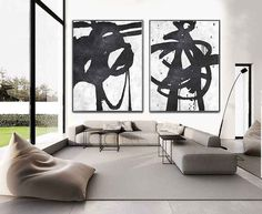 Some of these really remind me of sum-i or ink washing paintings - Set Of 2 Extra Large Acrylic Painting On Canvas by CelineZiangArt