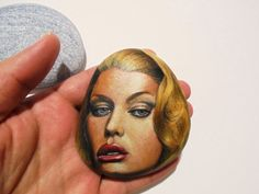 Rock Painting woman portrait on stone Painted by KanetisStones