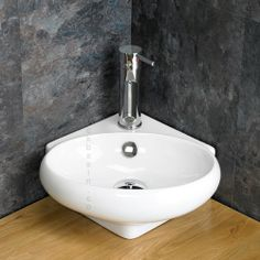 White Ceramic Space Saving Cesena Corner Hand Basin - www.clickbasin.co.uk