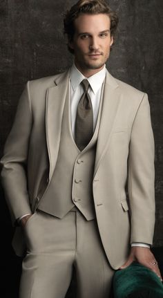 Allure Men - Tan The Allure Men by Jean Yves is our newest tuxedo line! Beginning spring Hart's has the newest and best in Tuxedo style and in stock selection. Tan Tuxedo, Groom Tuxedo, Tuxedo For Men, Tuxedo Wedding, Wedding Suits, Wedding Tuxedos, Gatsby Wedding, Parker Hurley, Terno Slim
