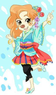 Stylish Kimono | by Y @ Pixiv.net // roxanne; goof troop; a goofy movie