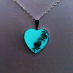 Aqua Glowing Necklace, Glowing Jewelry,  Glow in the Dark Heart, Glowing Pendant, Gift for Her, hand painted OOAK - pinned by pin4etsy.com