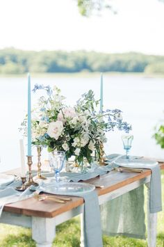Blue Wedding Flowers dusty blue wedding tablescape - George and Claudia Photography - Infused with Lavender Hues and Floral Motifs, classic romance dotted with modern trends made this Elegant and Airy Wedding Inspiration picture-perfect. Outdoor Wedding Flowers, Wedding Flower Guide, Blue Wedding Flowers, Floral Wedding, Wedding Colors, Outdoor Weddings, Rustic Wedding, Duck Egg Blue Wedding, Maroon Wedding