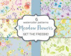 Watercolor Pattern, Watercolor Flowers, Flower Pattern Design, Meadow Flowers, All Paper, Graphic Patterns, Background Patterns, Paper Design, Design Bundles
